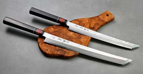 סכיני סושי או סכיני סשימי בעבודת יד של קאזויוקי