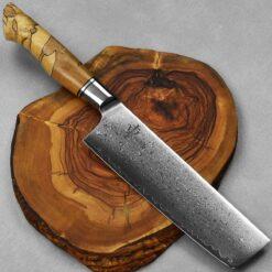 """סכין ירקות (נקירי) היגאשי 180מ""""מ 10Cr15CoMoV Spalted"""