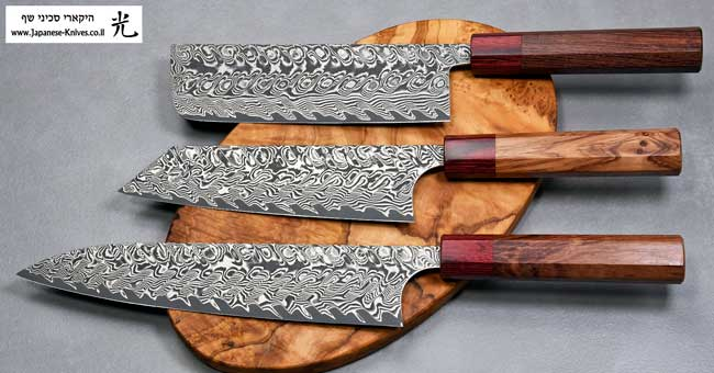 סכיני שף מבית הירושי קאטו - סדרת דמשק שחור