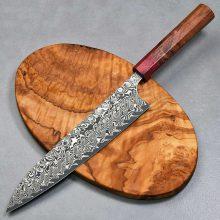 """סכין שף (גיוטו) הירושי קאטו 210מ""""מ SG2 דמשק Ad 1:1"""