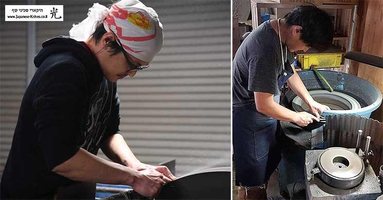 מאקוטו קורוסאקי משחיז סכיני שף