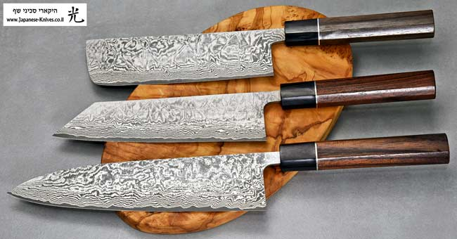סכיני שף בעבודת יד של שירו קאמו - סדרת SG2 Black Damascus