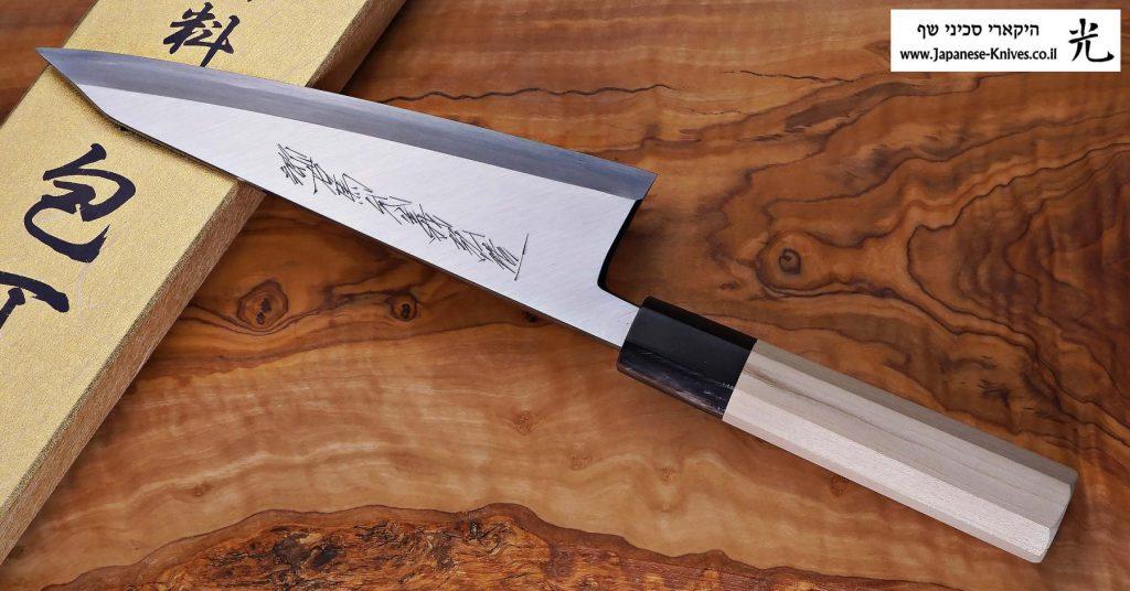 """סכין פירוק בשר (גאראסוקי) יאמאוואקי 180מ""""מ Aogami#2 FB ad"""